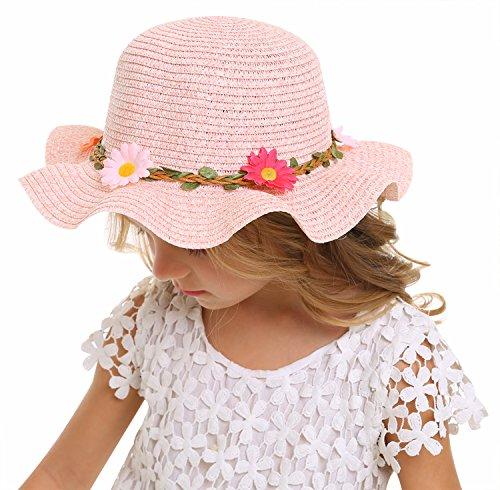 Bienvenu Sun Straw Hat Kids Girls Large Wide Brim Travel Beach Beanie Cap  d8717662c5e7
