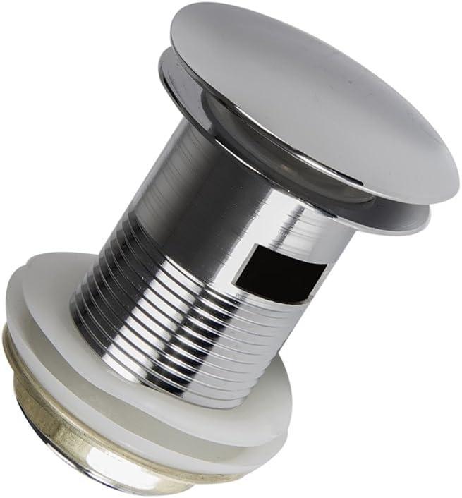 Enjoygoeu V/álvula Desag/üe Acero Inoxidable Tubo de Drenaje Push Up de Drenaje Pop Pulsador Tap/ón Clic-Clac Accesorios para Lavabo con Rebosadero Cromado