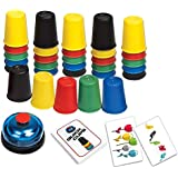 LUXJET Quick Cups Games for Kids, Classic Speed Stacking Cup Game for Kids Flying Stack Cup Parent-Child Interactive Game with 24 Picture Cards, 30 Cups (6 Sets of 5 Colors Each)