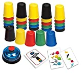 Quick Cups Games for Kids, LUXJET Classic Speed Stacking Cup Game for Kids Flying Stack Cup Parent-Child Interactive Game with 24 Picture Cards, 30 Cups (6 Sets of 5 Colors Each), Bell & Instruction