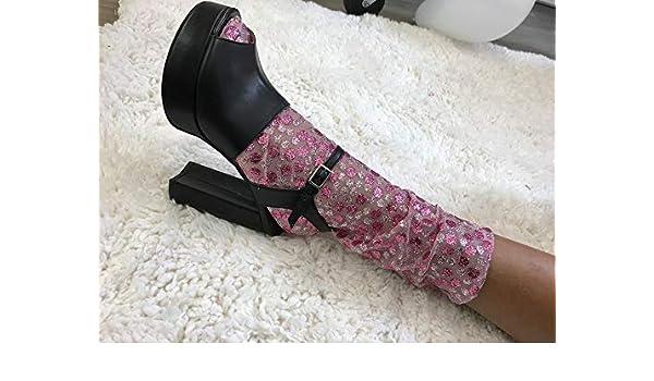 397389a388dde5 Amazon.com  Rose Pink Dots Glitter Socks