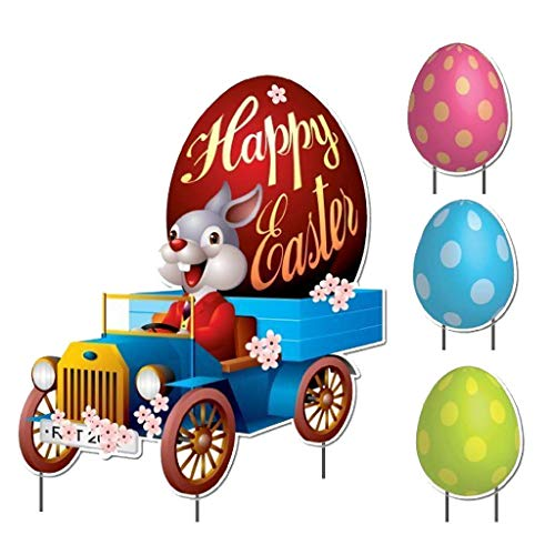 VictoryStore Yard Sign Outdoor Lawn Decorations: Vintage Car Easter Bunny Holiday Decoration]()