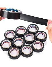 Retoo 10 stuks waterdichte isolatietape 16 mm x 10 m, doorslagvaste isolatietape voor reparatie, elektriciens, plakband, elastische weefselband, elektrische tape, zwart