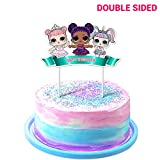 LOL Cake Topper, 1stBirthdayToppers, Cute Girls Dolls Bday Decorations Theme Party - Double Side 1 Count