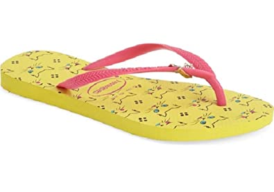 ca40c389933b6d Havaianas Women s Slim Pets Revival Yellow Sandals (USA ...