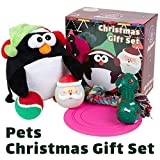 Allisandro Christmas Dog Toys Set - Including Interactive Flying Disc - 100% Cotton Durable Dog Chew Ropes - Dog Plush Toys - Bone Pattern and Ball Squeaky Toys