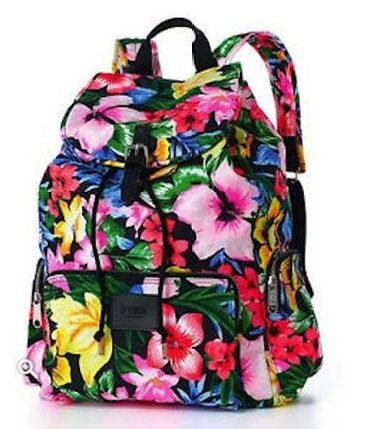 Price comparison product image NWT Victoria's Secret PINK Large Floral Canvas Backpack Travel Book Bag *RARE*