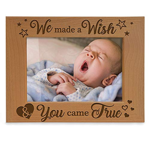 Kate Posh - We Made a Wish & You Came True Engraved Natural Wood Picture Frame, New Baby Gifts, New Mom, New Dad, Adoption Gifts (5x7 Horizontal) (Frame Picture Miracle)