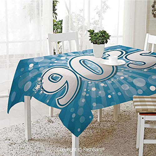 FashSam Party Decorations Tablecloth 90s Letter and Stars on Striped Background with Circles Party Celebration Themed Artwork Dining Room Kitchen Rectangular Table Cover(W60 xL84)