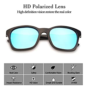 TrendyMate Polarized Sunglasses for Men Driving Mens Sunglasses Square Vintage Sun Glasses For Men/Women (Matte Black Frame/Blue Lens)