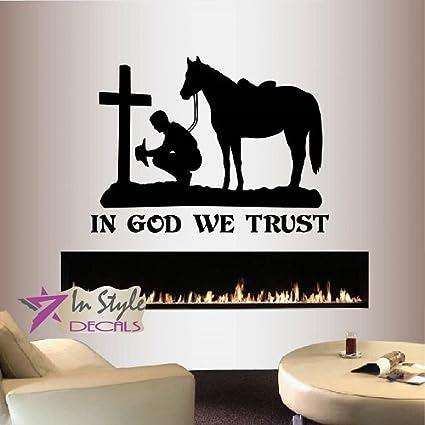 Amazoncom Wall Vinyl Decal Home Decor Art Sticker In God We Trust
