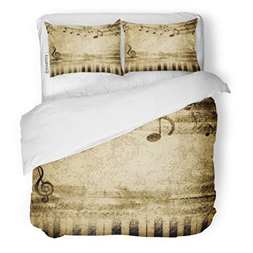 Semtomn Decor Duvet Cover Set Twin Size Brown Vintage Music Notes on Old Sheet Yellow Piano 3 Piece Brushed Microfiber Fabric Print Bedding Set Cover -