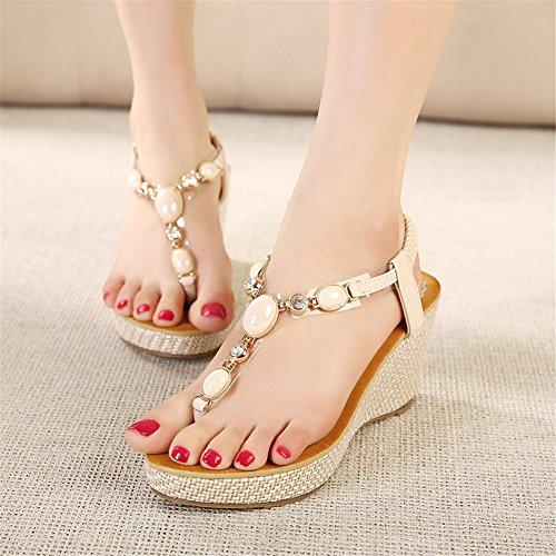Fortuning's JDS estilo bohemio del verano cómodo moldeada elástico sandalias planas para las mujeres Beige