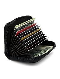zhoma RFID Blocking piel Tarjeta de Crédito Caso titular portafolios de viaje de seguridad con ID Ventana