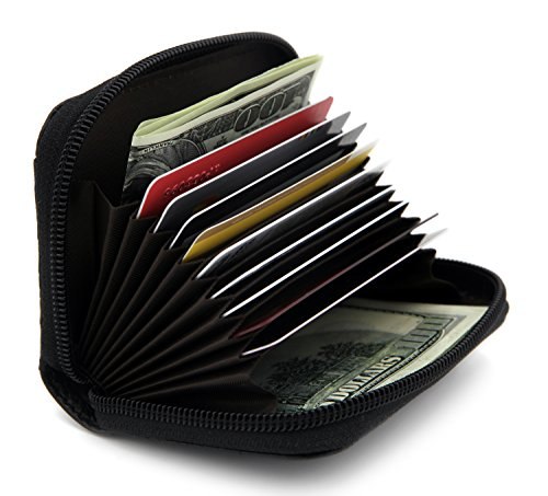 Zhoma RFID Blocking Genuine Leather Credit Card Case Holder Security Travel Wallet - (Zip Card)