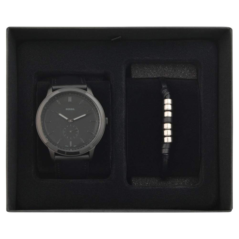 5c571dfa3b02 Fossil Mens Minimalist Gift Set Black Leather Strap FS5500SET   Amazon.co.uk  Watches