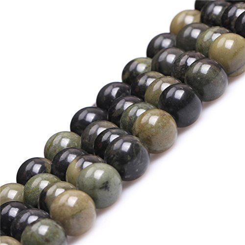 (African Autumn Jasper Beads for Jewelry Making Natural Gemstone Semi Precious 10mm Dark Gray Round 15