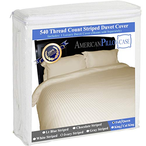 American Pillowcase 100% Egyptian Cotton Luxury Striped 540 Thread Count Duvet Cover with Wrinkle Guard - Full/Queen, Ivory