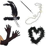 1920s Flapper Black Feather Boa Headband Pearl Necklace Cigarette Holder Gloves Fancy Dress by Blue Planet Online