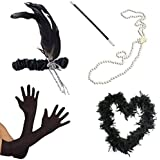 1920s Flapper Black Feather Boa Headband Pearl Necklace Cigarette Holder Gloves Fancy Dress