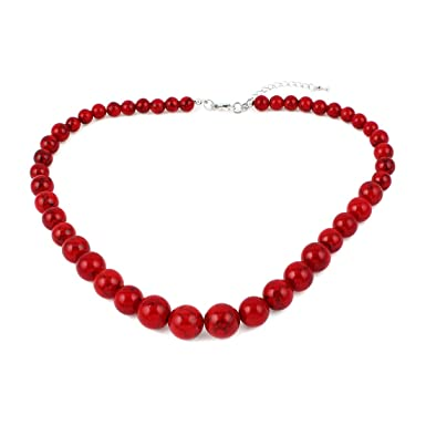 DEcus NObilis 01484 - Chain Beads 8mm Red Shiny NmYWStv6J
