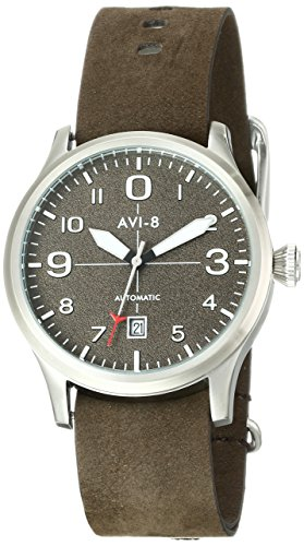 AVI-8-Mens-AV-4021-02-FlyBoy-Stainless-Steel-Automatic-Watch-with-Brown-Genuine-Leather-Band