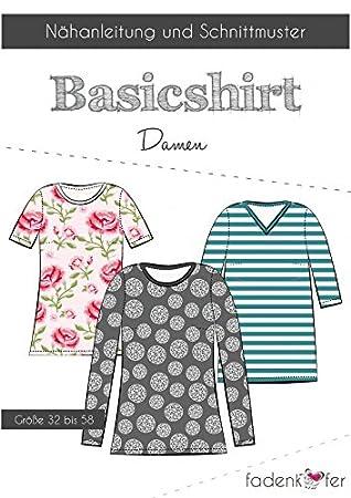 Schnittmuster Fadenkäfer Basic Shirt Damen Gr.32 bis 58 ...