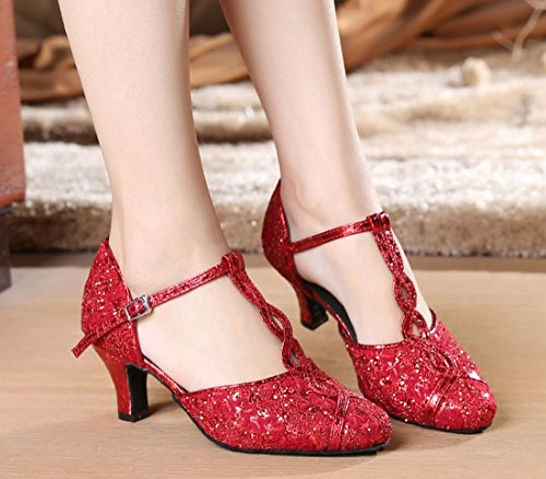 Dance Wedding Women's Mid Red Joymod 6cm Party MGM Latin Toe Closed Strap Lace T Pumps Sequins Heel Synthetic Modern Shoes Heel Floral p7A5a6qwAH