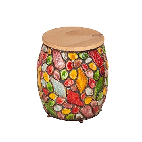 ch-AIR Stool Hand-Painted Simple Drum Table Solid Wood Shoe Bench Portable Stool Round Pier Leisure Test Stool Small Sofa Foot Makeup Stool 38X39CM ()