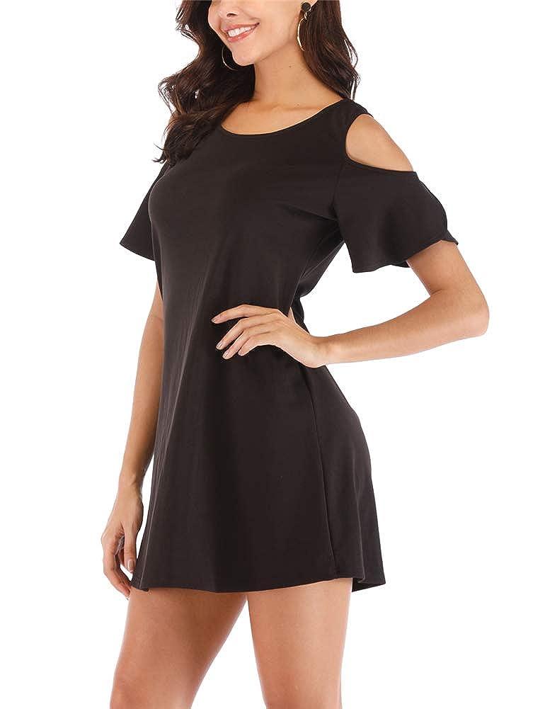 Black Cuihur Womens Short Sleeve Cold Shoulder Casual Summer TShirt Dress
