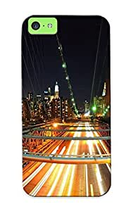 Crooningrose High Quality Shock Absorbing Case For Iphone 5c-cityscapes Lights Bridges Urban Long Exposure