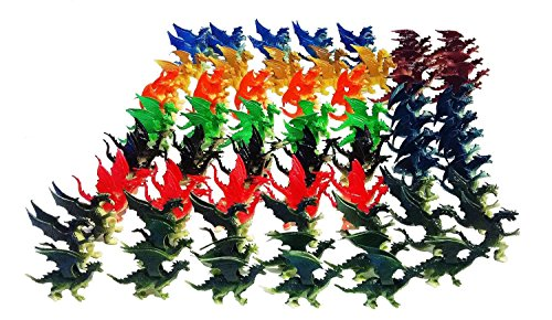 100 Pcs Plastic Fire Breathing Mini Dragons 2.5