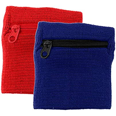 2Pcs Adult Unisex Sports Wristbands Wrist Wraps Sweat Band Zipper Pocket Wallet Athletic Fitness Accessories Estimated Price £3.76 -