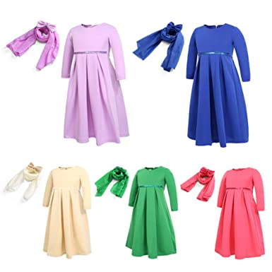 8e39fac8e5c4a Islamic Long Muslim Dress - Solid Color Abaya with Hijab - Long Sleeve -  for Baby Toddler Girl: Amazon.co.uk: Clothing