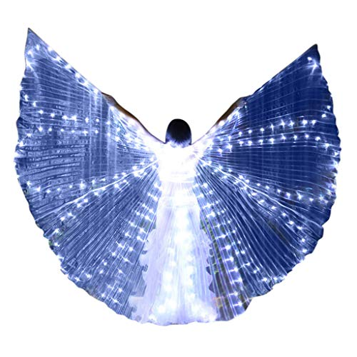 Leisuraly LED Isis Wings Glow Light Up Belly Dance Costumes with Sticks Performance Clothing Carnival White ()