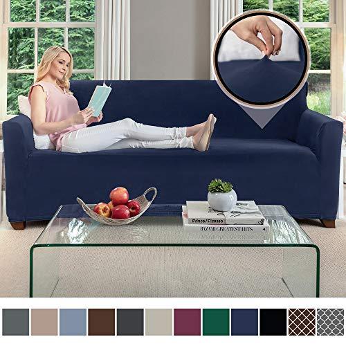(Gorilla Grip Original Velvet Fitted 1 Piece Sofa Slipcover, Stretch Up to 70