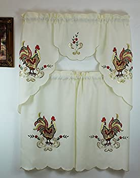 Rooster Jacquard Kitchen Curtain with Swag and Tier Set 36 In