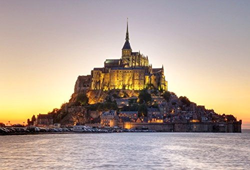 Leyiyi 5x3ft Lighting Mont Saint Michel Abbey Architecture Church in France Backdrop Many House Rock Cathedral Historical Building Children/Kid/Adult Photography Background