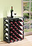 Mango Steam 32 Bottle Wine Rack with Glass Table Top, Pewter For Sale
