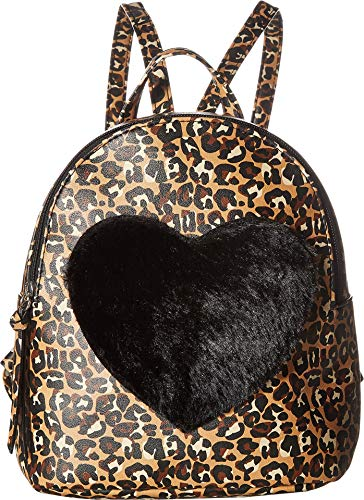 (T-Shirt & Jeans Womens Leopard Back Pack with Faux Fur Heart)