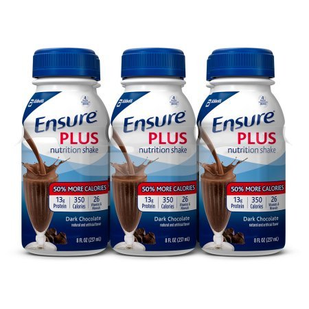 Ensure Plus Nutrition Shake with 13 grams of protein, Meal Replacement Shakes, Dark Chocolate, 8 fl oz, 6 count