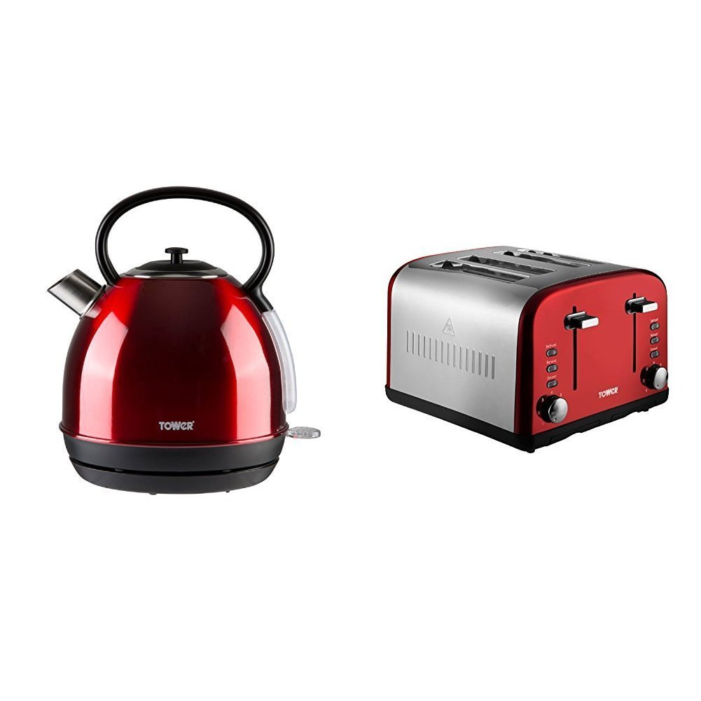 Tower Modern Infinity RED Kitchen Set - a 1.7L Traditional Dome Kettle and a 4 Slice Toaster