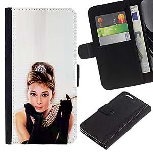 KingStore / Leather Etui en cuir / Apple Iphone 6 PLUS 5.5 / Audrey Actriz Classic Negro Chico vestido sexy