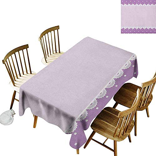 DONEECKL Mauve Soft Fabric Tablecloth Quick Wipe Old Fashioned Ornate Lace Pattern with Classical Polka Dots Background Image Lilac Lavender W60 xL120 ()