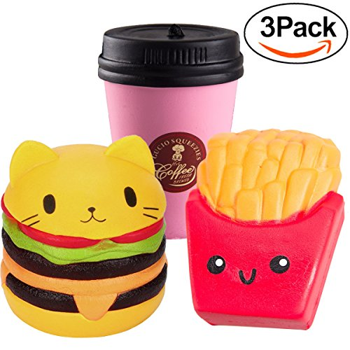 3 Pack Set Slow Rising Squishies Food Jumbo Party Favors Supplies ,Cat Hamburger & French Fries & Coffee Cup,Kawaii Cute Mochi Scented Key Chain Gift for Boys Girls Teen Adults