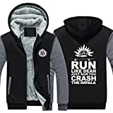 Dean Sam Winchester Hunt Hoodie Thick Zipper Fleece Winter Jacket for Men (Large, Grey 4)