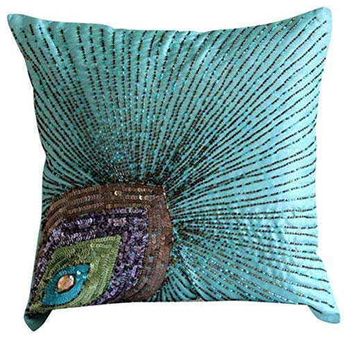 (Aqua Blue Pillow Covers, Peacock Feather Sequins and Beaded Sparkly Glitter Pillows Cover, Pillow Covers 16