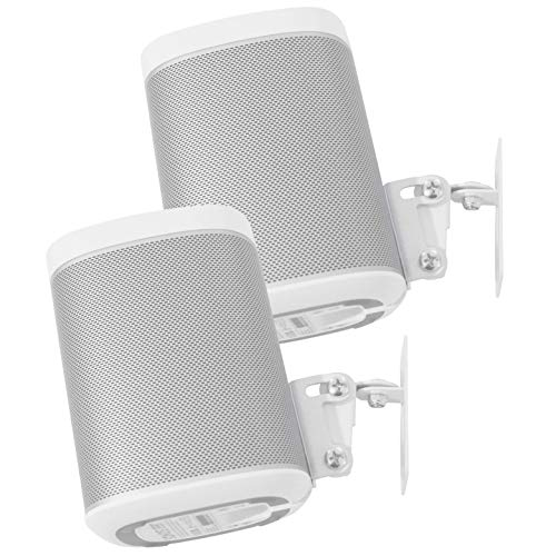 2 x SONOS Play 1 Wall Mount, Twin Pack, (NOT Compatible with SONOS ONE) Adjustable Swivel & Tilt Mechanism, 2 Brackets for Play:1 Speaker with Mounting Accessories, White ()