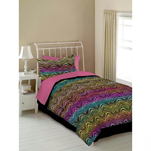 Veratex Stylish Luxurious 100% Micro-Fiber Rainbow Zebra Trendy & Modern 4-Piece Kids Comforter Set, Queen Size, Multicolored