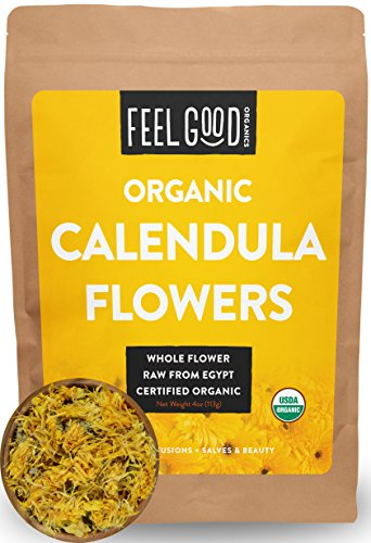 Organic Calendula Flowers - Whole - 4oz Resealable Bag - 100% Raw From Egypt - by Feel Good Organics (Dried Herbs Flowers)